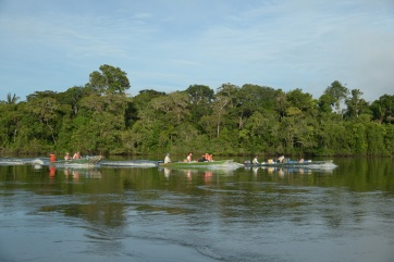 Denise Oliveira - Boats of expedition team, Juruena River, Amazon, 2014 - Zig Koch-WWF