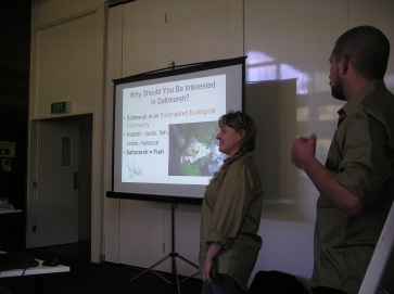 Polly and Cecil talk about the importance of saltmarsh to fish (c) Scott Nichols
