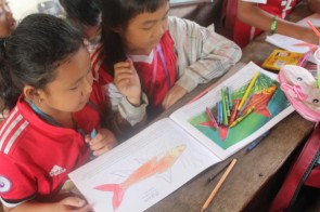 Coloring contest and story telling at Kampong Samnanh Primary School
