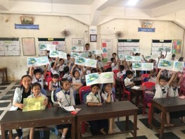 Coloring contest and story telling at Prek Tapov Primary School
